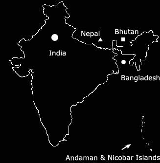 Andaman Islands, India, Bangladesh, Bhutan and Nepal Map